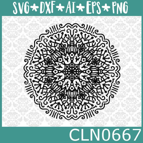 CLN0667 Intricate Mandala Hand Drawn Weeding Zentangle SVG DXF Ai Eps PNG Vector Instant Download Commercial Cut File Cricut Silhouette