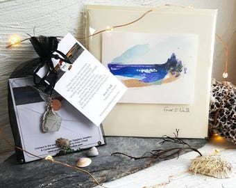 Christmas Gift Set - Personalised Seaglass Necklace & Hand Painted Greeting Card