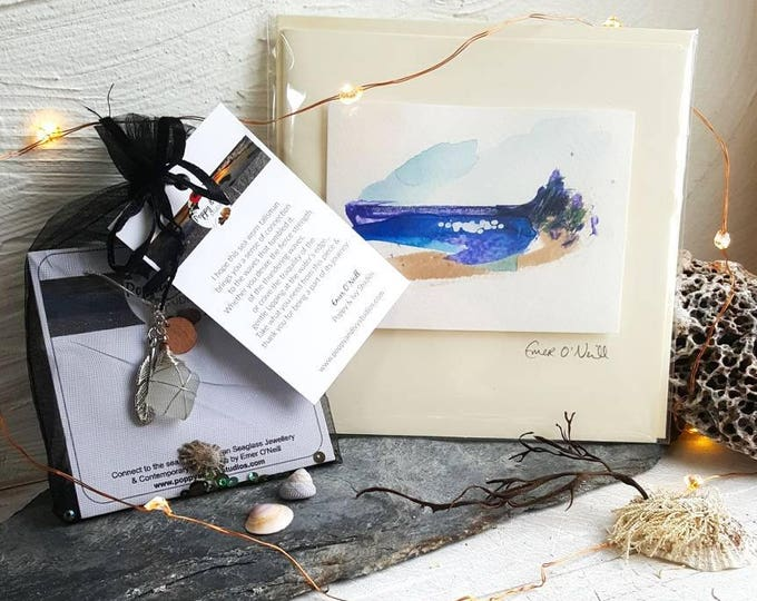 Featured listing image: Christmas Gift Set - Personalised Seaglass Necklace & Hand Painted Greeting Card
