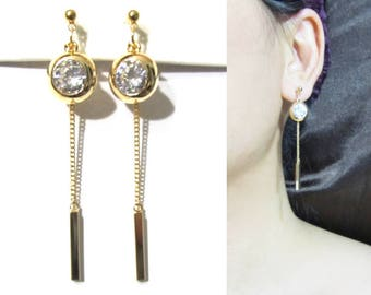 Icy Clear CZ Crystal CLIP-ON Earrings |27G| Gold Chain Dangle Clip On Earring Geometric clip Earrings Rhinestone clip on earrings Clip-ons