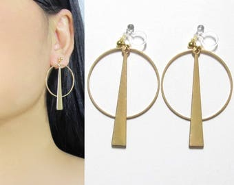 Modern Geometric Clip On Hoop Earrings |38D| Circle Drop Gold Bar Long Dangle Clip Earrings, Boho Invisible Clip-ons Non Pierced Earrings