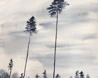 Pine trees, watercolor trees, tree watercolor, pine tree painting, tree painting, overcast skies, tree landscape, landscape painting, pines