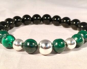 Custom Handmade Custom Sterling Silver, Onyx & Green Malachite Gemstone Bracelet
