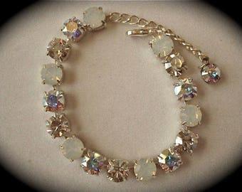 Swarovski Silver White Opal Crystal Tennis Bracelet, 8mm wedding bracelet, crystal bridesmaid bracelet, tennis bracelet, white opal bracelet