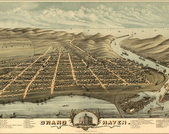 Poster, Many Sizes Available; Map Of Grand Haven, Michigan 1874