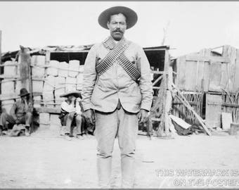 Poster, Many Sizes Available; Pancho Villa Wearing Bandoliers In Front Of An Insurgent Camp P2