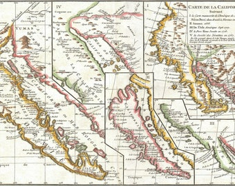 Poster, Many Sizes Available; 1772 Vaugondy - Diderot Map Of California In Five States, California As Island P2