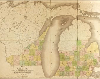 Poster, Many Sizes Available; 1839 Map Of Michigan And Wisconsin