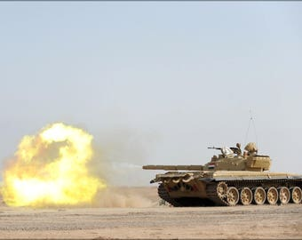 Poster, Many Sizes Available; Iraqi T 72 Tank Fires