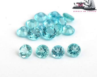 Natural Apatite Calibrated Size 2.5mm to 5mm Faceted Round Greenish Blue Color Loose Gemstone Lot