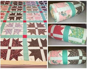 Antique Quilt,Feedsacks,Bear Paw Quilt,Needlework,Vintage Quilt,Kids Blanket,Baby Quilt,Textile,Kitschy,Farmhouse,Civil War Era,Quilt,1940s