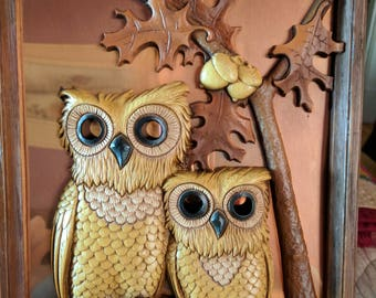 Vintage Coppercraft Guild wall Owls