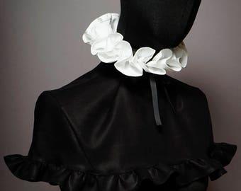 Haute Couture High Fashion ruffle collar with Cape. detachable collar.