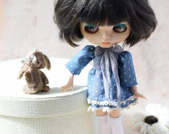 Blythe outfit. Dress with denim top.