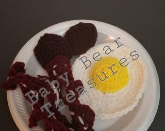 Crochet Play Breakfast, Crochet Breakfast, Crochet Play Food, Breakfast Play Food, Crochet Food, Play Food Gift Set