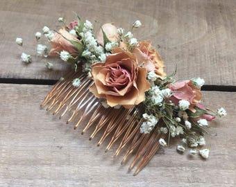 DRIED Pink Spray Rose Hair Comb, Silica Dried Rose, Hair comb, Wedding hair piece, Hair Accessory, Vintage wedding, Rustic Wedding, Pink