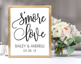 S'more Love Wedding Sign, Wedding Favor Smore Station Sign, Instant Download, DIY Printable, Wedding Reception Printable Sign