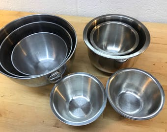 Stainless steel stacking bowls revere ware set and lot of 9