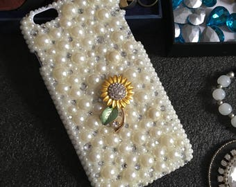 Bling Pearls Cute Small Metal Yellow Sunflower Sparkles Charms Glossy Crystals Rhinestones Diamonds Gems Hard Cover Case for Mobile Phone