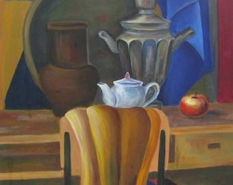 Still life samovar, jug, kettle, wall art, oil painting original, Ukrainian artist Tkachenko O. Still life samovar 60-50 km. 0.05