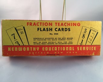 Vintage 1948 Fraction Teaching Flashcards Complete 100 piece set