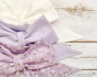 Gorgeous Wrap Trio (3 Gorgeous Wraps)- Blanc, Lavender & Lavender Confetti Gorgeous Wraps; headwraps; fabric head wraps; headbands