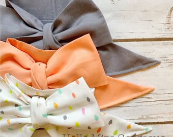 Gorgeous Wrap Trio (3 Gorgeous Wraps)-Platinum, Apricot & Sprinkles Gorgeous Wraps; headwraps; fabric head wraps; bows