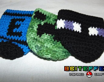 Minecraft Enderman Creeper and Megaman Energy Tank Inspired Soda Pop Can Holders