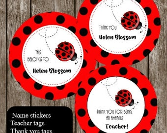 Personalized Sticker Name Labels - ladybird Name Teacher tags - Back to School Name Labels thank you tags