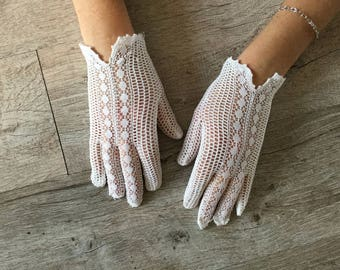 Vintage white lace gloves