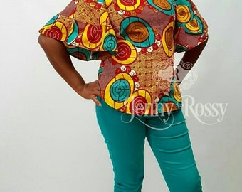 African clothing casual Top Ankara ruffle sleeves Top African women Top