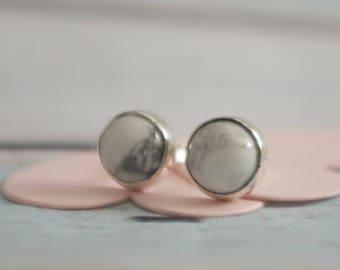 Howlite Earrings - Sterling Silver Earring Studs 8mm gemstones