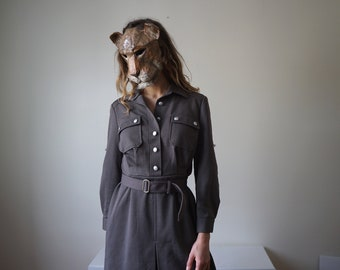 AUTHENTIC Khaki Military Dress - East German Army NVA DDR Uniform 80's / Real Collector Vintage secretary dress / New condition // Size S