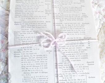 CIJ SALE Greek Book Pages Vintage Paper Pack Journal Ephemera Scrapbook Smash Book Junk Journal