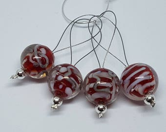 Red bauble style stitch markers