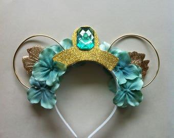 Princess Jasmine Floral Mickey Ears