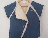 Girls Blue Denim Vest-Denim Coat-Warm Lined Coat-Boho Hippie coat-Faux Fur Coat-Girls jeans coat-Baby girls denim Vest- Fur Vest