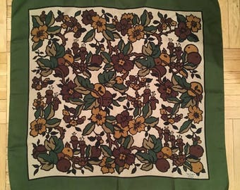 Vintage Liberty London Green Floral Silk Scarf