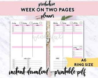 A6 Size Ring Bound - Productive Week on Two Pages Planner