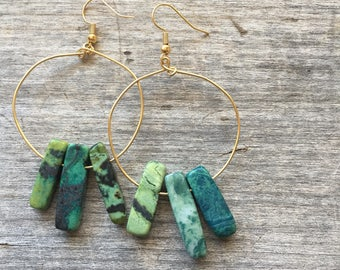 Sea Green Jaspar Spike Earrings - Hoop Earrings - Spike Earrings - Green earrings - Spring earrings - gift for her - Dangle Earrings