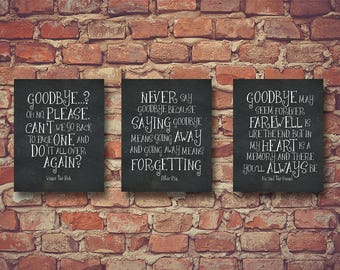 Retirement Party Decoration Retirement Gift Goodbye Wall Art Wall Decor Winnie the Pooh, Peter Pan, Fox and the Hound Quotes Set of 3 1320CB