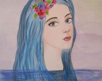 "Watercolor female Portrait ""The mermaid"""
