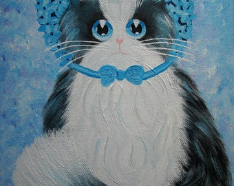 "Acrylic painting ""Cat Lady hydrangea"""