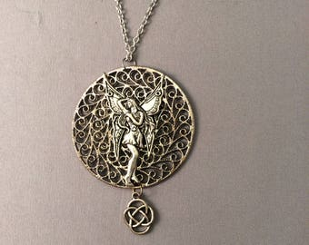 Fairy necklace with eternity charm, filigree necklace, silver steampunk necklace, Faerie, fae necklace, steampunk, filigree, eternity symbol