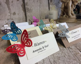10 x Place name cards / wedding / party / butterfly