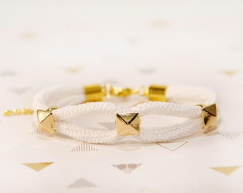 white and gold bracelet - nautical bracelet - white and gold jewelry - nautical rope bracelet - anchor bracelet - MudenoMade