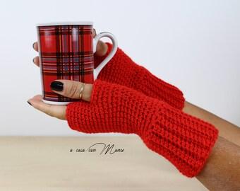 Fingerless gloves, women's gloves, wool gloves, crochet gloves, red gloves, gloves Gothic, wrist warmers, hand warmers, gift for Christmas