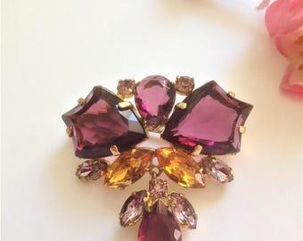 Vintage Pendant Brooch, Purple Glass Gem Brooch, Vintage Wedding, Bridal, 1940's Brooch