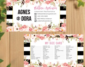 PRINTABLE Agnes and Dora My Sizes Card, Size Cards, Business Card, Business Cards, Digital File AG016