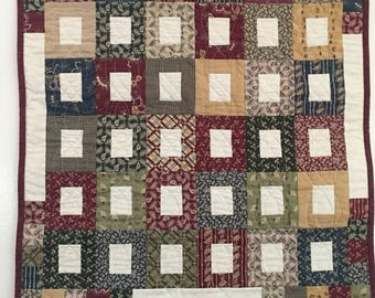 Burgundy Square Wall Quilt